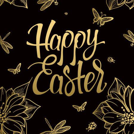 幸せなイースター ゴールド サイン、シンボル、花と蝶と黒の背景に。お祝い文字。イースター ゴールド。ゴールド サイン。ゴールドのシームレス