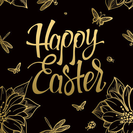 Happy Easter gold sign, symbol, on black background with the flowers and butterfly. Festive lettering. Easter gold. Gold sign. Seamless gold pattern. 일러스트