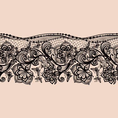 black fabric: Abstract seamless lace pattern with flowers and butterflies. Infinitely wallpaper, decoration for your design, lingerie and jewelry. Your invitation cards, wallpaper