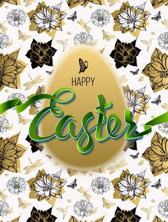 ester: Happy Easter. Sign, symbol, on a seamless background with the flowers and egg. Festive lettering. Gold black flowers pattern. Spring flower. Ester egg. Ester pattern. Poster.