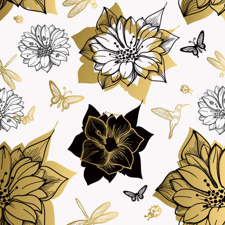 gold floral: Seamless pattern flowers, butterflies, hummingbirds, white background. Gold floral, black elements,flower line,gold thread pattern,gold seamless lace.Spring,summer theme.