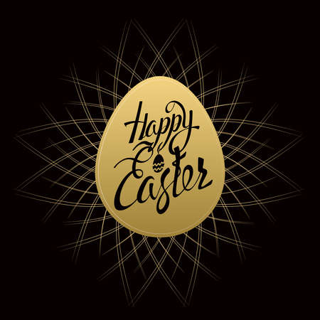 easter sign: Happy Easter sign letters on gold egg, symbol, on a black background with vintage sunburst. Illustration