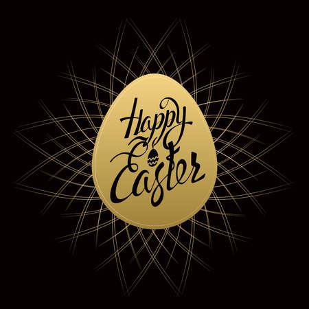 gold egg: Happy Easter sign letters on gold egg, symbol, on a black background with vintage sunburst. Illustration