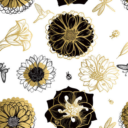 retro floral: Seamless pattern flowers, butterflies, hummingbirds, white background. Gold floral, black elements,flower line,gold thread pattern,gold seamless lace.Spring,summer theme.