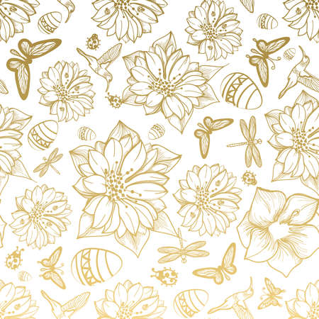 Seamless pattern flowers, egg, butterflies, hummingbirds, gold background. Gold floral, gold elements,flower line,gold thread pattern,gold seamless lace.Spring,summer theme. Packaging gifts Greetings