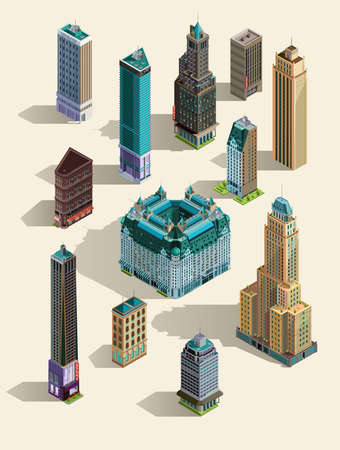 megapolis: Isometric buildings. Set Isolated icon landmarks. 3d map, home, town skyscraper.Top view. Isolated on white. Illustration