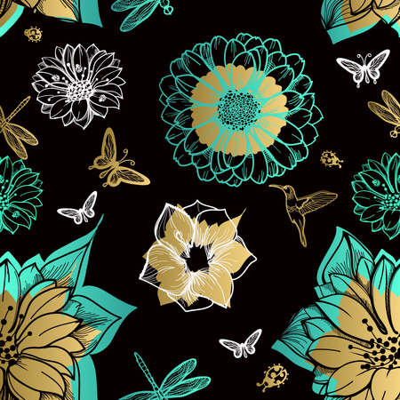 Seamless pattern flowers, butterflies, hummingbirds, black background. Gold flowers, black elements,flower line,gold thread pattern,gold seamless lace.Spring,summer theme. Packaging gifts Greetings