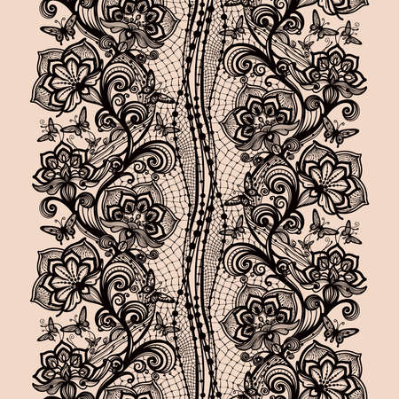 infinitely: Abstract seamless lace pattern with flowers and butterflies. Infinitely wallpaper, decoration for your design, lingerie and jewelry. Your invitation cards, wallpaper