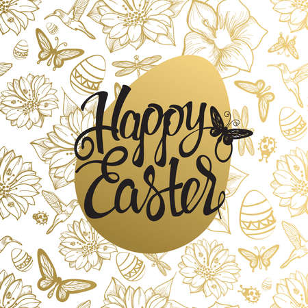 Easter egg sign on gold seamless background of flowers,egg,butterflies and dragonflies.Tape letters, holiday symbol. Happy Easter.