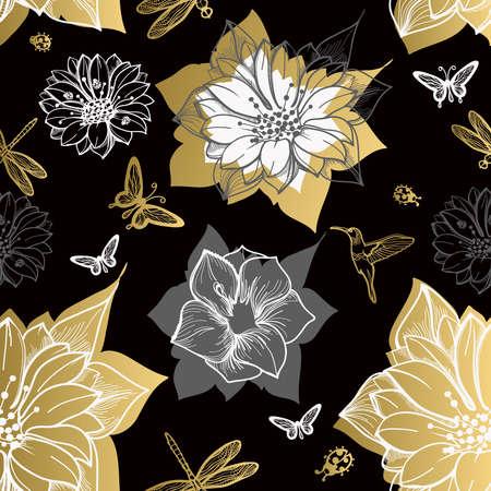 Seamless pattern flowers, butterflies, hummingbirds, black background. Gold flowers, black elements,flower line,gold thread pattern,gold seamless lace.Spring,summer theme. Packaging gifts Greetings
