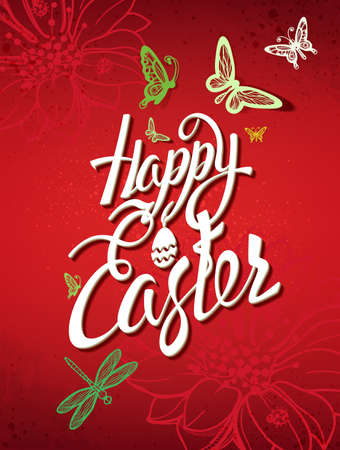easter sign: Happy Easter sign, symbol, on a red background. Festive lettering