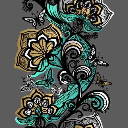 Abstrakte nahtlose Lochmuster. Blumen, Schmetterlinge Textur. Tapeten-Blumen Hintergrund, Dekoration für Ihr Design, Dessous und jewelry.Invitation Karten, Farbe Lochmuster. Gold, Silber, Grün