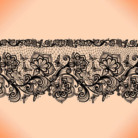 lace pattern: Abstract seamless lace pattern with flowers and butterflies. Infinitely wallpaper, decoration for your design, lingerie and jewelry. Your invitation cards, wallpaper