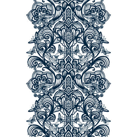 infinitely: Abstract seamless arabic lace pattern with flowers and butterflies. Infinitely wallpaper, decoration design, lingerie and jewelry. Invitation cards,wallpaper tile ornament.