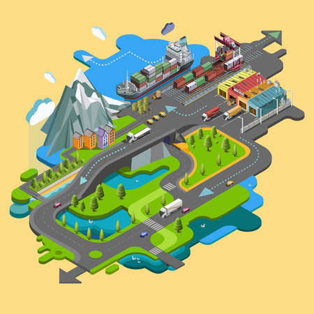 alpine zone: Isometric delivery of cargo, railway, truck, maritime transport logistics, loading, transport, location, 3d . The concept of landscape with cargo delivery system Illustration