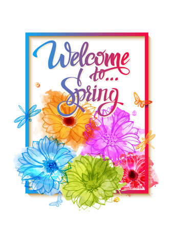 Welcome to spring, poster, advertising of spring flowers and watercolor stains. Summer bouquet of flowers butterflies and dragonflies. Illustration