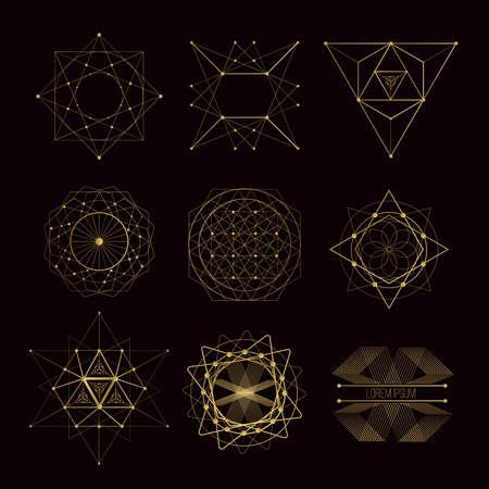 geometria: formas de geometría sagrada, formas de líneas, logotipo, símbolo, signo. Vectores