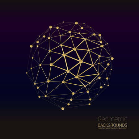 molecules: Abstract gold geometric lattice, the scope of molecules, the molecules in the circle. Round composition of the molecular lattice. Color composition vector for your design.