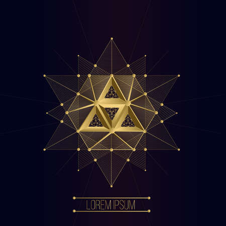 Sacred geometry forms, shapes of lines, logo, sign, symbol, emblem, badge, award, shape, pentagrams. 3D volumetric shape of lines and a triangle  イラスト・ベクター素材