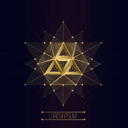 Heilige geometrie vormen, vormen van lijnen, logo, teken, symbool, embleem, kenteken, toekenning, vorm, pentagrammen. 3D volumetrische vorm van lijnen en een driehoek Stock Illustratie