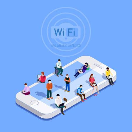 Planas vectorial metáfora que la gente en la zona wi-fi. icono de teléfono en el que las personas se sientan a Internet en la tecnología de conexión gratuita zone.Public zona Wi-Fi inalámbrica. ilustraciones de vectores 3D isométrico.