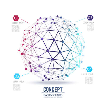 graphic design: Abstract geometric lattice, the scope of molecules, the molecules in the circle. Round composition of the molecular lattice. Color composition vector for your design.