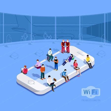 airport people: Flat vector metaphor People in wi-fi zone at the airport Phone icon on which people sit Internet in the free zone Public Wi-Fi zone wireless connection technology Isometric 3d vector illustrations Illustration