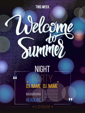 Welkom bij de zomer tekenen op een zwarte achtergrond en licht. Poster, banner, DJ partij, nachtclub showprogramma. Welkom bij geïsoleerde woord