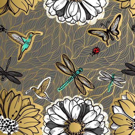 Modelo de flores inconsútil, mariposas, colibríes, fondo oscuro. flores de oro, elementos negros, línea de flores, patrón de hilo de oro, lace.Spring sin fisuras de oro, tema del verano.