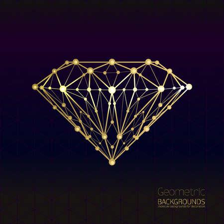 Geometrische vorm van het gouden diamantrooster van moleculaire. Abstracte vorm van de diamant, vormt ontwerp achtergrond, vector samenstelling van een driehoek. Geïsoleerd op zwarte achtergrond. Vector.