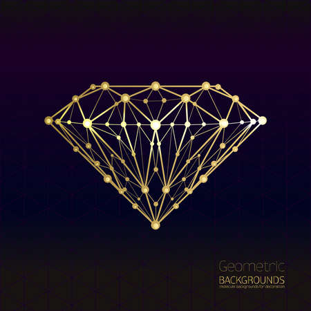Geometrical shape of the gold diamond lattice of molecular. Abstract form of the diamond, forms design background, vector composition of a triangle. Isolated on black background. Vector.