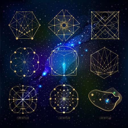 geometria: formas de geometría sagrada en el fondo del espacio, formas de líneas, logotipo, símbolo, signo. patrones geométricos. Geometría simbólico. Vector aislado de formas geométricas.