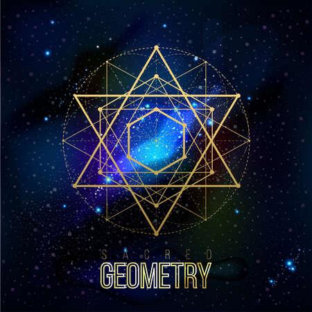 geometría: formas de geometría sagrada en el fondo del espacio, formas de líneas, logotipo, símbolo, signo. patrones geométricos. Geometría simbólico. Vector aislado de formas geométricas.