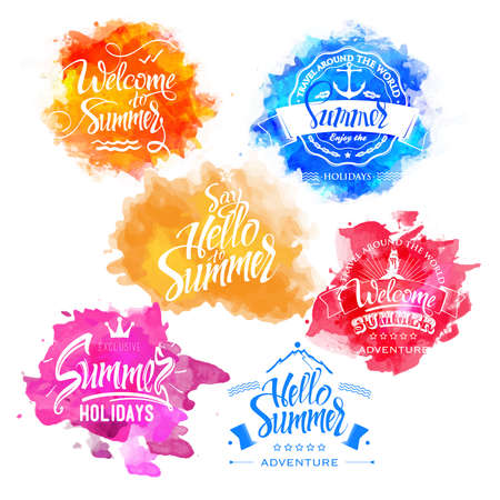 calligraph: Vector Collection of Summer and Holidays Labels on watercolor background splash Hand lettering, calligraph font  letters. Isolated.Labels of watercolors. Isolate symbols. Illustration
