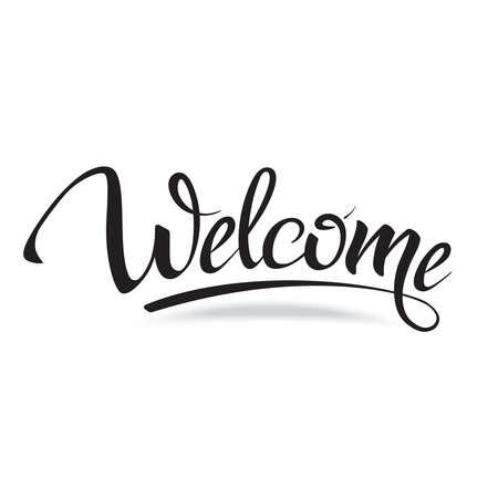 bienvenida: Bienvenido. Señal, símbolo palabra welcome.Hand letras, letras fuente caligráfica y sombra. Aislado en blanco.
