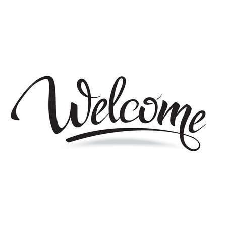 script: Welcome. Sign, symbol word welcome.Hand lettering, calligraphic font  letters and shade. Isolated on white. Illustration