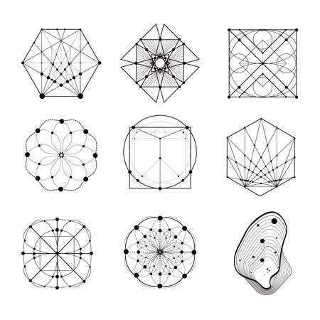 sacred geometry: Sacred geometry forms, shapes of lines, logo, sign, symbol. Geometric patterns. Geometry symbolic. Illustration