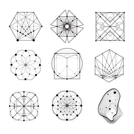 symbolics: Sacred geometry forms, shapes of lines, logo, sign, symbol. Geometric patterns. Geometry symbolic. Illustration
