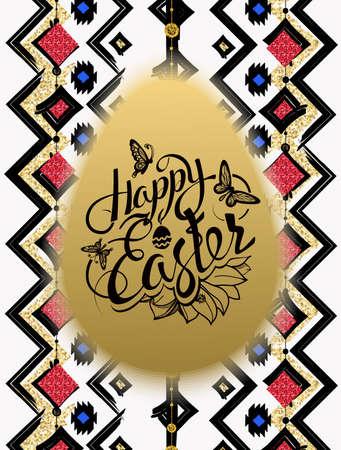 Happy Easter. Sign, symbol, logo on gold  egg, ethnic pattern background. Festive lettering. Gold black flowers logo. Spring flower. Ester egg. Ester pattern. Poster. 일러스트