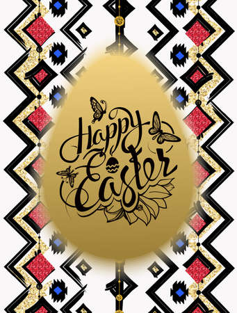easter sign: Happy Easter. Sign, symbol, logo on gold  egg, ethnic pattern background. Festive lettering. Gold black flowers logo. Spring flower. Ester egg. Ester pattern. Poster. Illustration