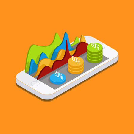 parameters: Mobile phone with graphs and reports in the form of diagrams. phone settings, parameters, quotes, curves, diagrams. Vector Isometric 3d phone.
