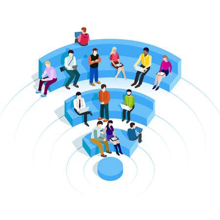 La gente en la zona wi-fi. La tecnología Pública zona Wi-Fi inalámbrica de conexión. ilustraciones de vectores 3D isométrico. Aislar en blanco. Personas que navegan por Internet en los asientos en forma de WiFi.