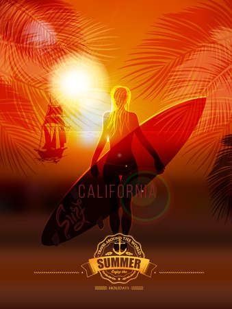 Tropical summer surf poster inscription Surfer girl on sea background, leaves of the palm in the background calligraphy, lettering, symbol, logo Summer tropical vacation Summer trip Vacation Illustration