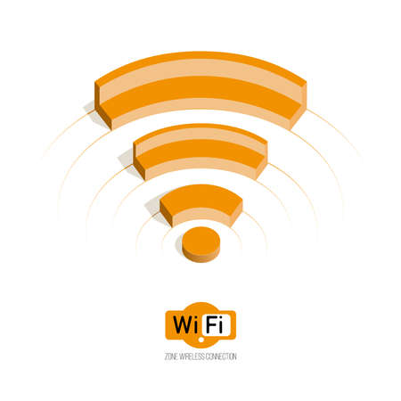 wireless connection: Isometric symbol Wi fi. 3d concept of range. wi-fi zone. Public Wi-Fi zone wireless connection technology.Isolate on white.
