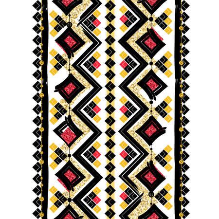 Naadloze patronen met wit, zwart, goud, zigzag lijnen en punten, gestreept, geschenkdozen en stippen.