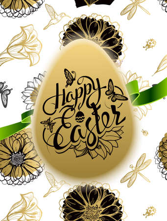 easter sign: Happy Easter. Sign, symbol, logo on a seamless background with the flowers and egg. Festive lettering. Gold black flowers pattern. Spring flower. Ester egg. Ester pattern. Poster.