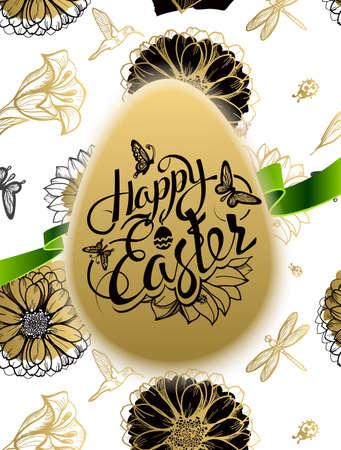 ester: Happy Easter. Sign, symbol, logo on a seamless background with the flowers and egg. Festive lettering. Gold black flowers pattern. Spring flower. Ester egg. Ester pattern. Poster.