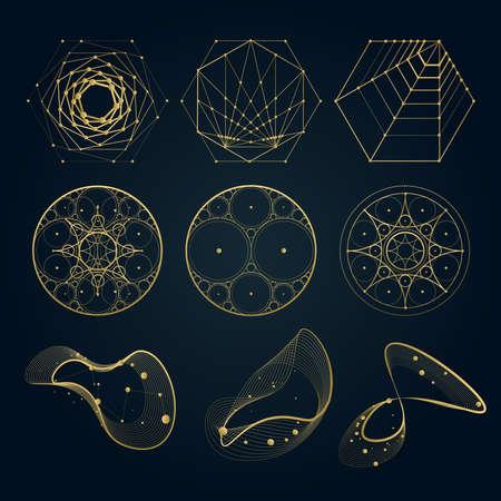 Heilige geometrie vormen, vormen van lijnen, logo, teken, symbool. cirkel, zeshoek, abstracte vormen, geïsoleerd op zwart.