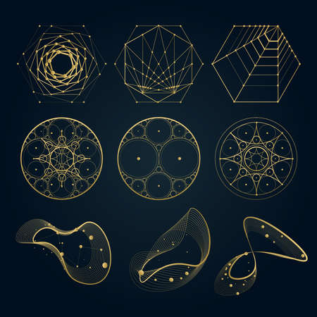 Sacred geometry forms, shapes of lines, logo, sign, symbol. circle, hexagon, abstract shapes, isolated on black.