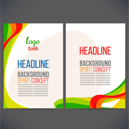catalog background: Abstract vector template design, brochure, Web sites, page, leaflet, with multi-colored lines and waves, logo and text separately. Sport concept banners.2016